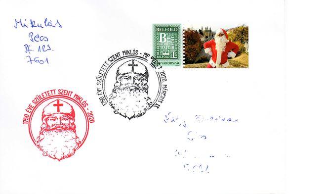 Postai karácsonyi levél Szent Miklós bélyegzővel
