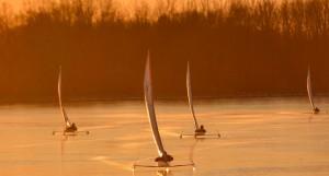 Jégvitorlások a Tisza-tavon