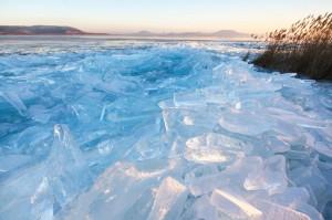 Jégtáblák Balatonberénynél