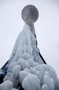 Szétfagyott víztorony Nagykanizsán